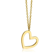 Miore Ladies 9ct Yellow Gold Heart Necklace of 45cm