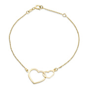 Miore Ladies 9ct Yellow Gold Double Heart Bracelet