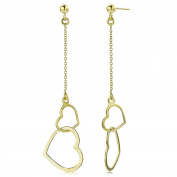 Miore Ladies 9ct Yellow Gold Double Heart Drop Earrings