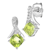 Naava 9ct White Gold Square Peridot and Diamond Twist Drop Earrings