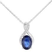Naava 9ct White Gold Oval Sapphire and Diamond Twist Pendant Necklace of 46cm