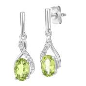 Naava 9ct White Gold Oval Peridot and Diamond Twist Drop Earrings