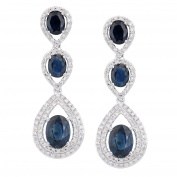 Naava Women's 18ct White Gold Diamond and Sapphire Teardrop Drop Earrings