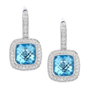 Naava 9 ct White Gold Diamond and Amethyst Earrings, Square Cut Gemstone