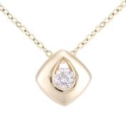Naava Women's 9ct Gold Diamond Kite Shape Pendant Necklace of Length 46cm