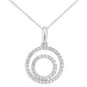 Naava Women's 9ct White Gold Diamond Circle Design Pendant Necklace of Length 46cm