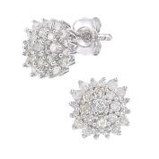 Naava Women's 9ct White Gold 0.40ct Diamond Cluster Earrings