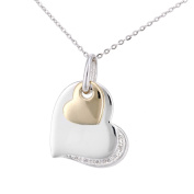 Naava Women's 9ct Yellow and White Gold Diamond Hearts Charm Pendant Necklace of Length 46cm
