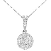Naava Women's 9ct Gold Diamond Cluster Setting Pendant Necklace of Length 46cm