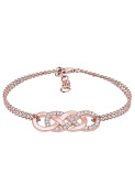 Elli Women Rose Gold-Plated 925 Silver Crystals Infinity Bracelet