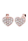 Elli Women Earring Rose Gold-Plated 925 Silver Heart Crystals Earrings
