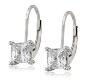 La Lumiere Platinum Plated Sterling Silver Zirconia (1cttw) Princess Earrings