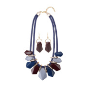 Front Row Navy Burgundy and Lilac Necklace and Earring Set