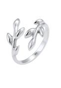 Elli Women Olive leaf twig nature 925 Silver Adjustable Ring