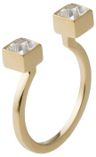 may mOma Women's Gold Plated Square Clear Crystals Fay Carrè Ring - Size L