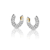 Nomination Symphony Women's Stud Earrings Horseshoe Partially Gold-Plated Stainless Steel and White 026251/008