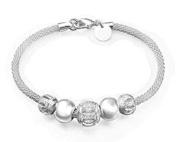 Cosanter Silver Anklet Elegant Noble Hollow Mesh Plating Silver Beaded Chain Bracelet for Women Girl