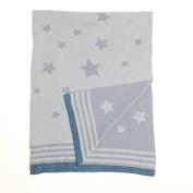 Zippy Baby Reversible Blanket in Blue Stars for Nursery Cot and Pram, 100% combed cotton knitted, Perfect Gift