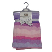 Baby Girls Gorgeous Purple and Pink Patterned Luxury Reversible Wrap Blanket