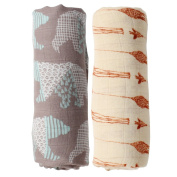 Muslin Swaddle Blankets - ( 2 Pack,Giraffe & Bear ) Bamboo Cotton Baby Swaddling Wrap, Burping Cloth & Stroller Cover - Soft Baby Blankets for Boys and Girls By LifeTree