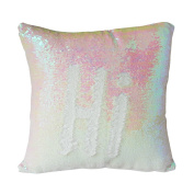 """Janecrafts Two-colour Decorative Mermaid Pillow Reversible Sequins Pillow Cases Cushion cover 16 X 16""""(40x40cm) Iridesent and White"""