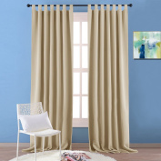 Windows Treatment Blackout Curtains Bedroom - PONY DANCE Premium Thermal Blackout Tab Top Curtains for Bay Window / Windows Draperies Black Light Out & Energy Saving, One Pair, Wide 140cm by Drop 240cm , Cream Beige