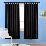 Thermal Top Tab Blackout Window Curtains - PONY DANCE Room Darkening Blackout Curtains Panels Windows Treatment Thermal Insulated Drapes for Living Room, 2 Pcs, W 140cm x L 170cm per Panel, Black