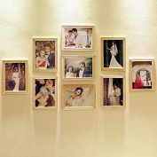 WYFC 18cm Photo Wall Combination 9 Wood Frames Combination For Living Room Bedroom And Studio