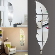 Wall Stickers,Ulanda-EU Removable Feather Mirror Wall Stickers Decal Art Vinyl Home Room Decoration DIY Silver