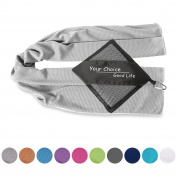 Your Choice Cooling Towel Ice Cold Stay Cool Towel, Large 100 x 40cm and Small 80 x 40cm Quick Dry Fitness Cool Towels Best Use as Cooling Neck Headband Bandana Scarf Instant Cooling for Golf,Gym,Yoga,Pilates,Football,Travel,Camping,Hiking,Running,Bowl ..