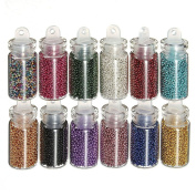 RuiChy 12pcs Mini Bottles Nail Art Tips Caviar Beads Balls Glitter Manicure Decoration