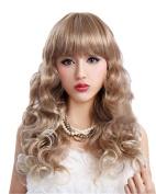 58cm Long Cool Ash Blonde Fashion Hair Wigs Wave Women Wig
