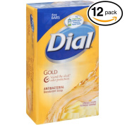 (PACK OF 12 BARS) Dial GOLD Antibacterial Bar Soap. Round the Clock Odour Protection. Leaves Skin Smooth & Radian! Hypo-Allergenic. Great for Hands, Face & Body!