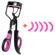 Professional Eyelash Curler Plastic Beauty Lash Curler with 5 Refill Pads for Women