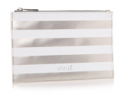 Holy Chic Stripe Silver Pouch Bag Clutch Make Up Cosmetics Wash Bag