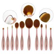 QITAO® Makeup Brushes, 10pcs Luxury Rose Gold Oval Toothbrush Curve Makeup Brushes Kits Cosmetic Set Make Up Powder Foundation Eyeshadow Contour Brushes