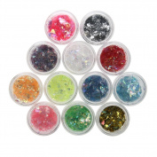 Demiawaking 12Pcs Mixed Colours Ultra-thin Women DIY Nail Art Sequins Glitter Paillette Nail Tip Decorations