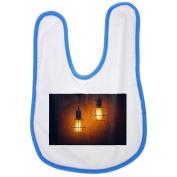 Light, Lamp, Electricity, Power, Design baby bib in blue