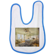 Bedroom, Architectural, Interior baby bib in blue