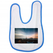 Lighthouse, Remote, Sky, Clouds, Sunset baby bib in blue