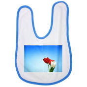 Tulips, Red, White, Spring, Aesthetics baby bib in blue