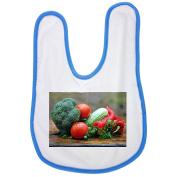 Vegetables, Healthy Nutrition, Kitchen baby bib in blue