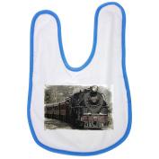 Locomotive, Steam Locomotive, Train baby bib in blue