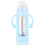 Baby Wide Calibre Glass Bottle With Silicone Sleeve 8 Ounces,A-240ml