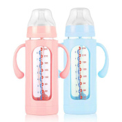 Baby Wide Calibre Glass Bottle With Silicone Sleeve 8 Ounces,C-240ml
