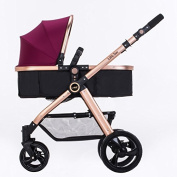 ERRU Baby Pushchairs Prams Baby Stroller Summer Can Sit Lie Down Two-way High Landscape Strollers Lightweight Children's Folding Stroller Champagne Gold Colour for parent who want fashion travel