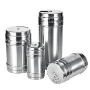 Yunhigh Salt Pepper Shakers with Lid Stainless Steel Versatile Dry Rub Shaker Spice Jar Can for BBQ Kitchen Outdoor Household- Sliver Medium