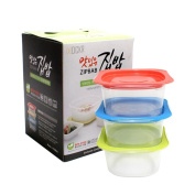 DCKR Auto Steam Microwave Airtight Containers With Lids 3 Set - Bpa Free Food Storage Vapour Discharge System Random Colour Lunch Box