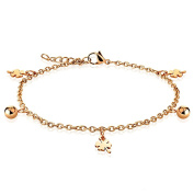 "Shamrock and Ball Rose Gold Plated Link Chain Dangling Charm Finest Quality Stainless Steel Anklet 9.25"" ( 235mm ) Chain Bracelet"