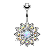 OULII Belly Button Ring Flower Belly Piercing Stud for Body Decoration